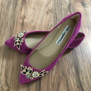Karl Lagerfeld purple suede shoes